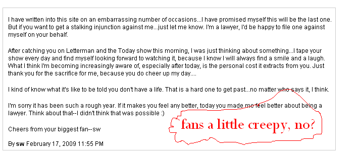 (Fan mail from Bonnie Hunt's website.  My notes added in red.)